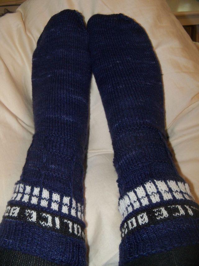 Sarah's Tardis socks #3