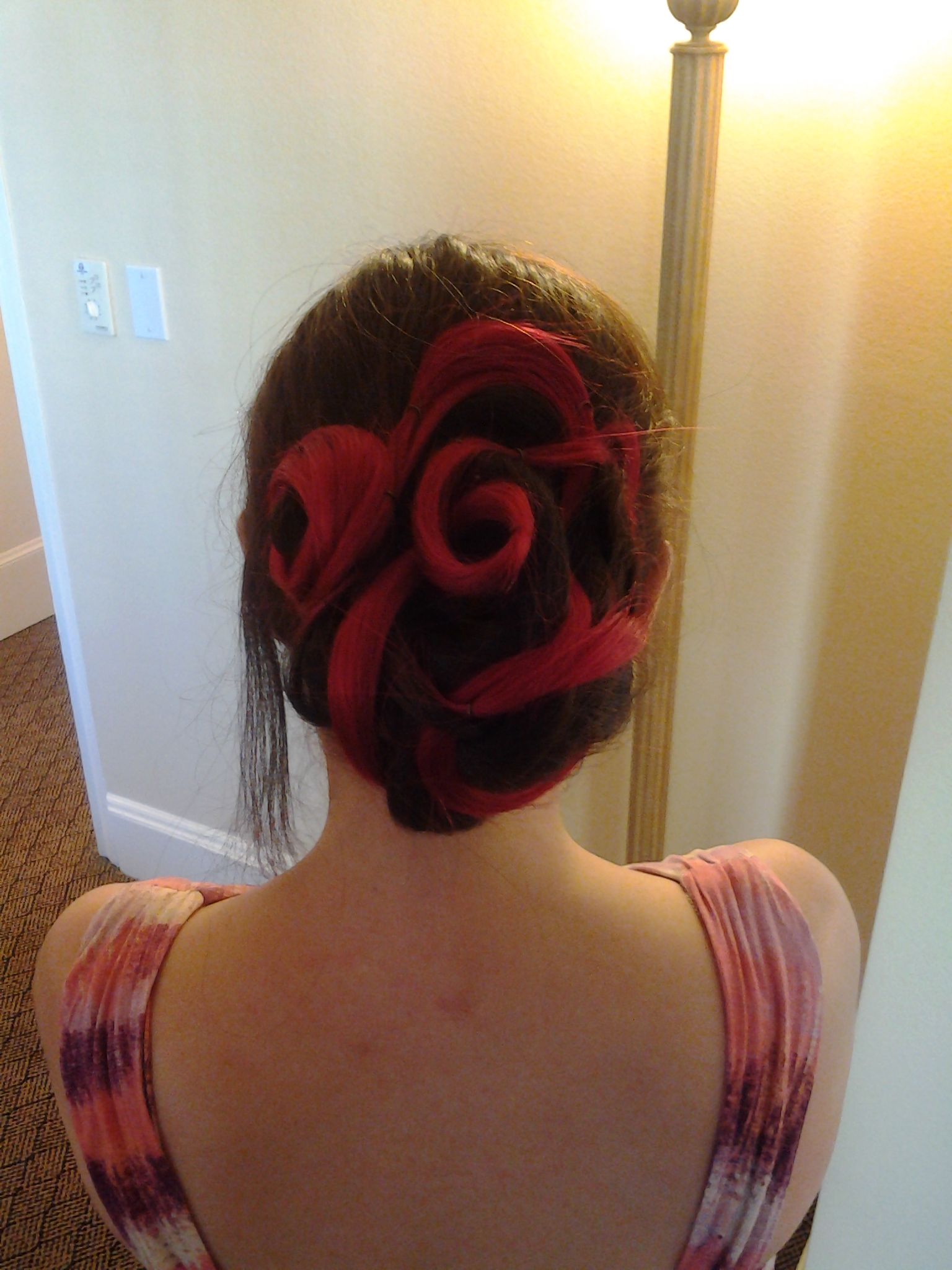Here's my hair with most of the curls in it, before the headcage fascinator goes on and the tendril in front gets curled.