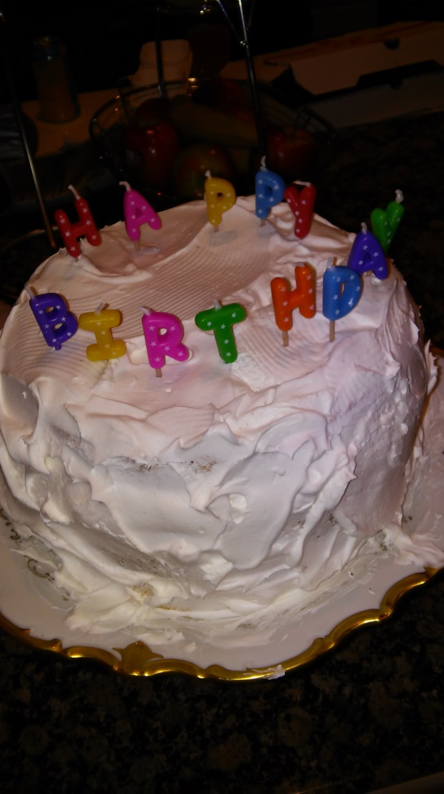 This cake's primary ingredient is love, and its three layers are held together with Type A overcompensation for being a mom who has two jobs, teaching and authoring. Okay, not actually. It's really Cool Whip.